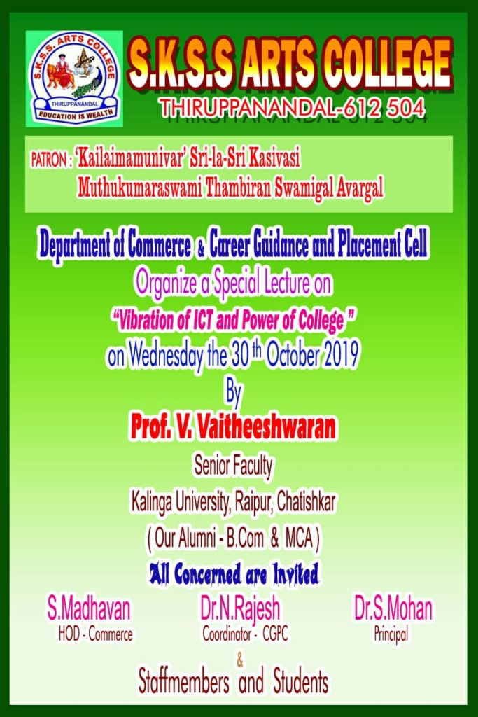 Special Lecture on 30.10.2019