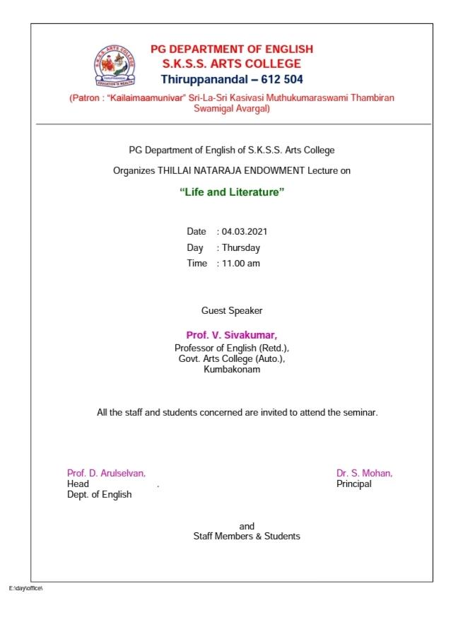 Invitation for Thillai Nataraja Endowment Lecture