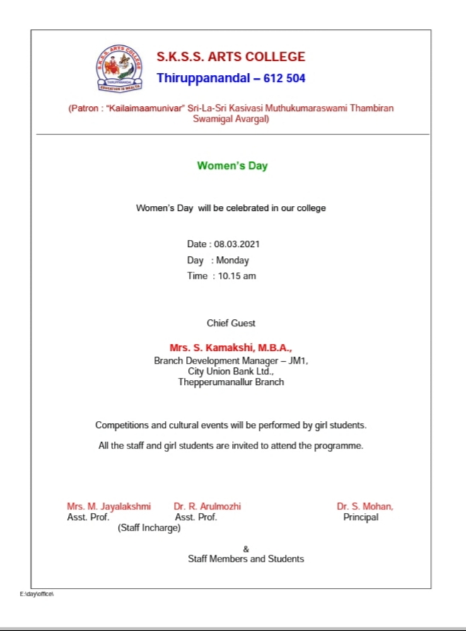 Invitation for Women's day 2021