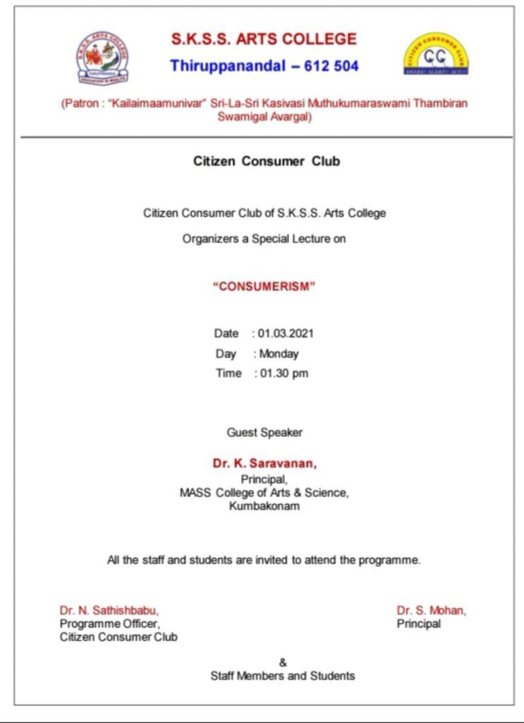 Citizen Consumer Club organize Special Lecture